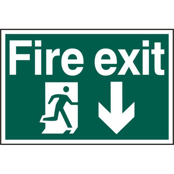 `Fire Exit` 200mm x 300mm PVC Self Adhesive Sign