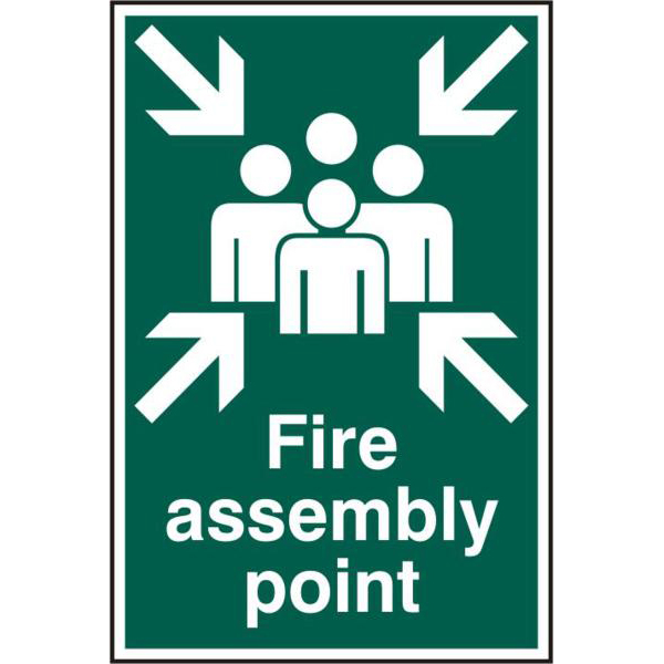 Fire Assembly Point 200mm x 300mm PVC Self Adhesive Sign