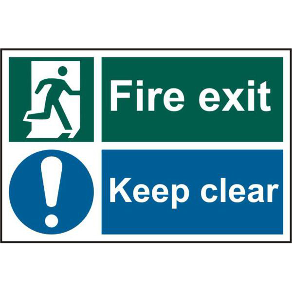 Fire Exit Keep Clear 200mm x 300mm PVC Self Adhesive Sign