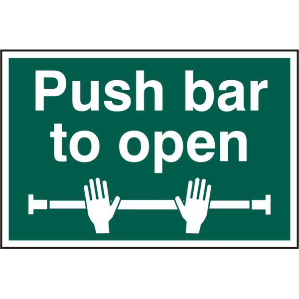 Push Bar To Open 200mm x 300mm PVC Self Adhesive Sign